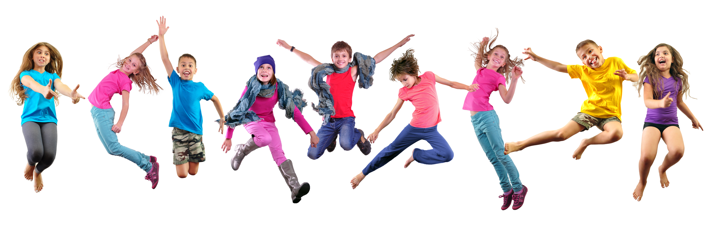 Image of happy children exercising