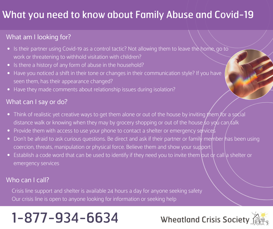 For information on Family Abuse and Covid-19 call 1-877-934-6634