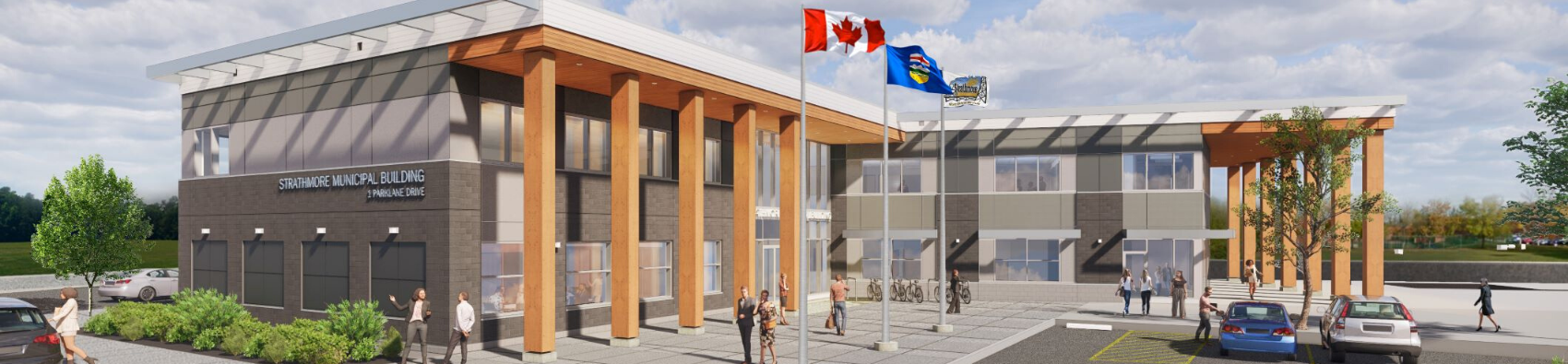 Artist rendering of new municipal building