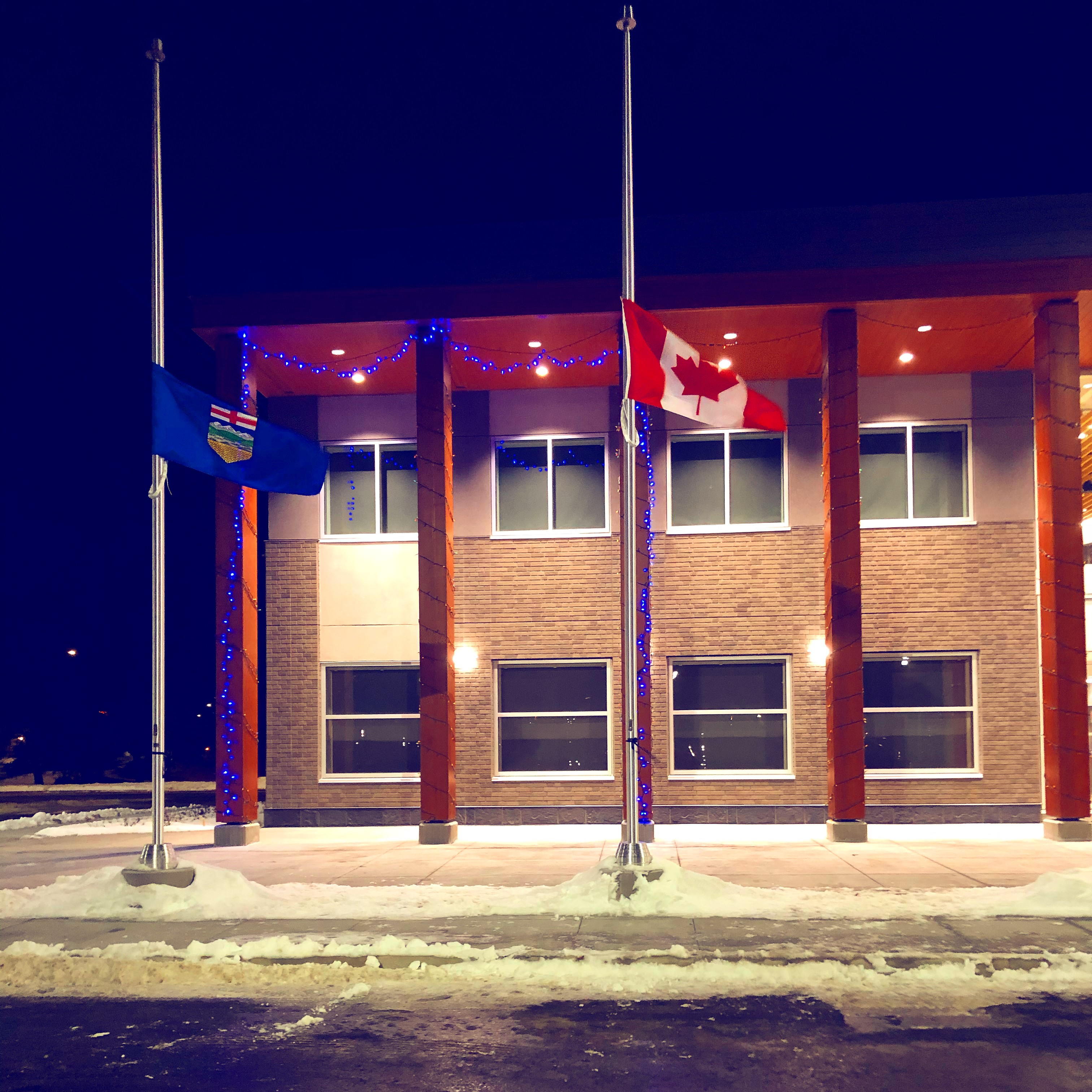 Strathmore Municipal Building with Blue Lights